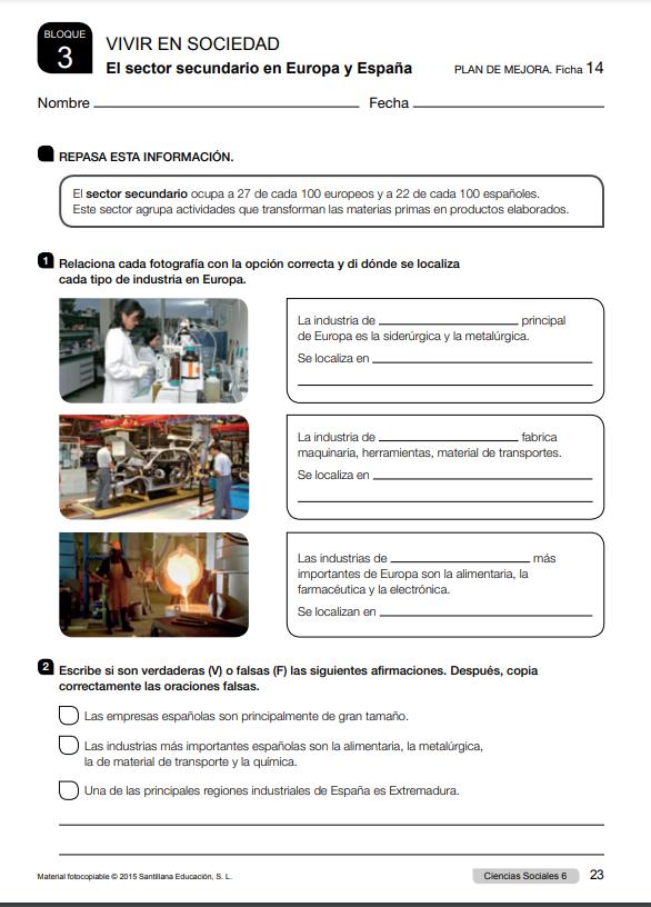 Ejercicios Ciencias Sociales 6 Primaria Santillana con soluciones PDF