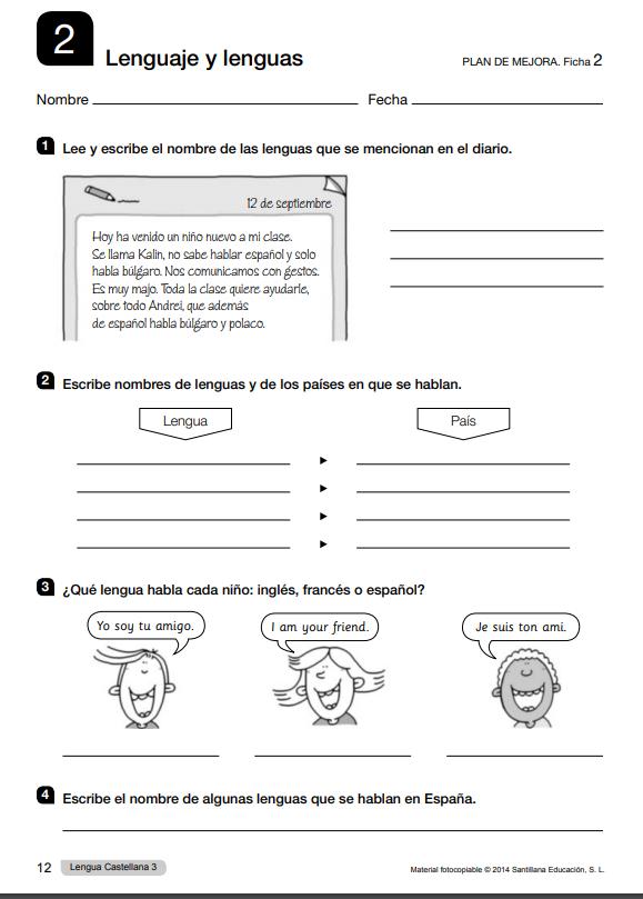Ejercicios con soluciones de Lengua 3 Primaria Santillana PDF