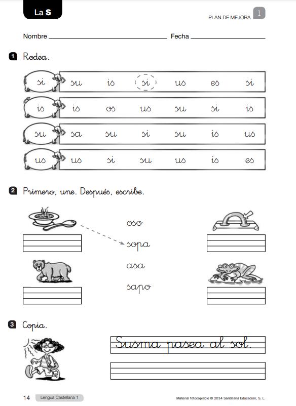 Ejercicios  de Lengua 1 Primaria Santillana con soluciones en  PDF