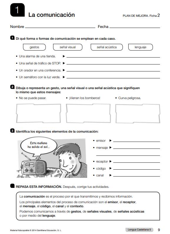Ejercicios de Lengua 5 Primaria Santillana PDF con Soluciones
