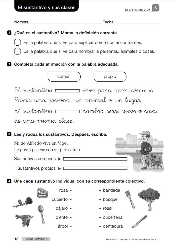 Ejercicios y sus soluciones de Lengua 2 Primaria Santillana PDF