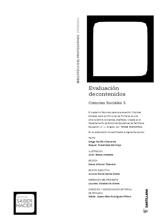 Evaluacion de Contenidos Ciencias Sociales 5 Primaria Santillana