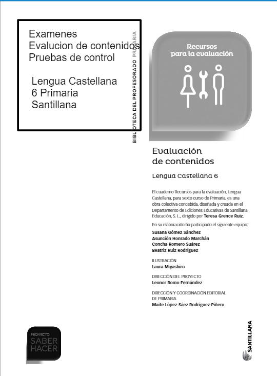 Evaluacion de Contenidos Lengua Castellana 6 Primaria Santillana