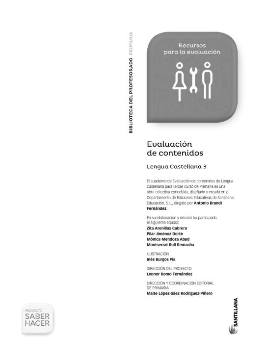 Evaluacion de Contenidos Saber Hacer Santillana 3 Primaria Lengua