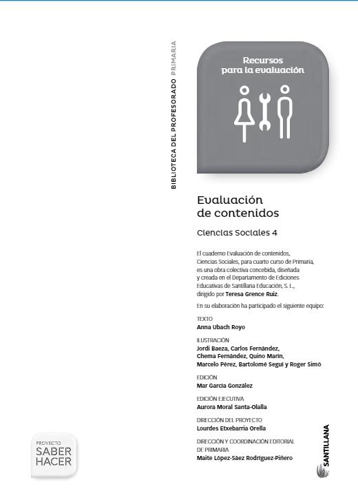 Evaluacion de Contenidos Saber Hacer Santillana 4 Primaria Ciencias Sociales