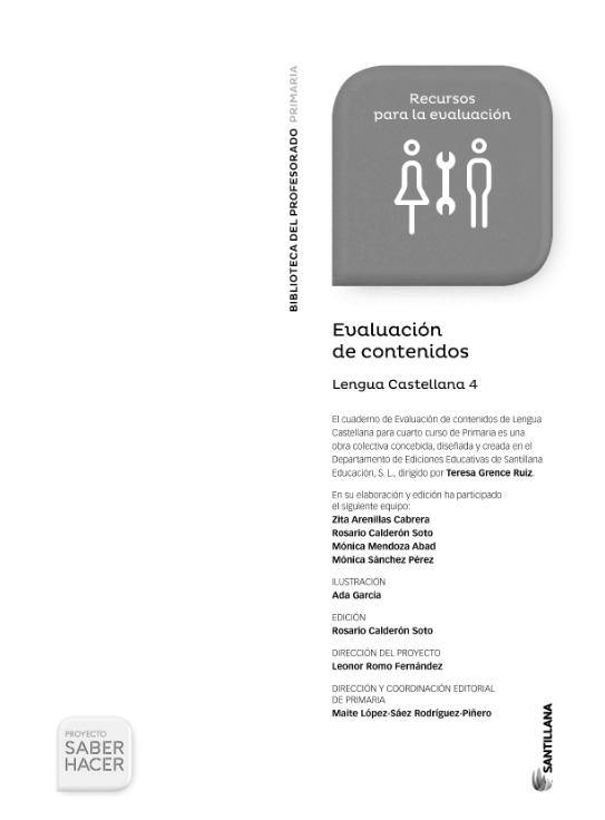 Evaluacion de Contenidos Saber Hacer Santillana 4 Primaria Lengua