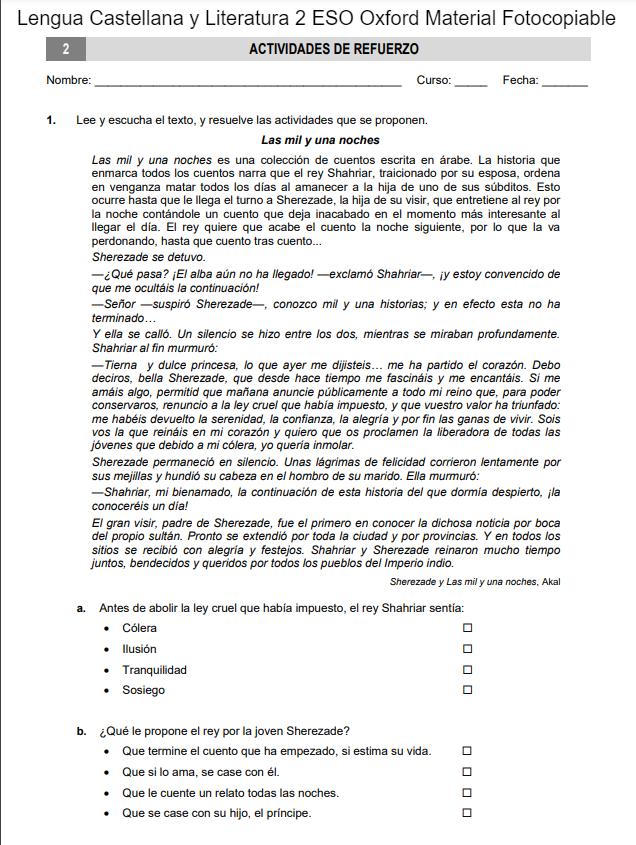 Lengua Castellana y Literatura 2 ESO Oxford Material Fotocopiable
