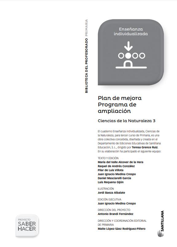 Plan de Mejora Programa de Ampliacion Ciencias Naturales 3 Primaria Santillana PDF