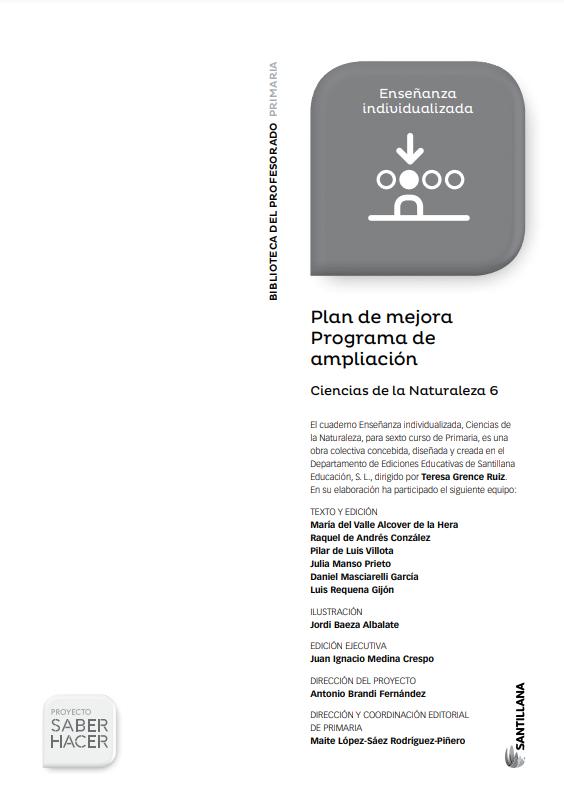 Plan de Mejora Programa de Ampliacion Ciencias Naturales 6 Primaria Santillana PDF