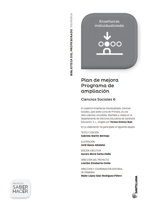 Plan de Mejora Programa de Ampliacion Ciencias Sociales 6 Primaria Santillana PDF
