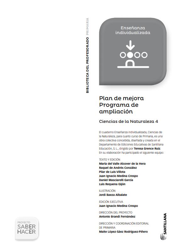 Plan de Mejora y Ampliacion Ciencias Naturales 4 Primaria Santillana PDF