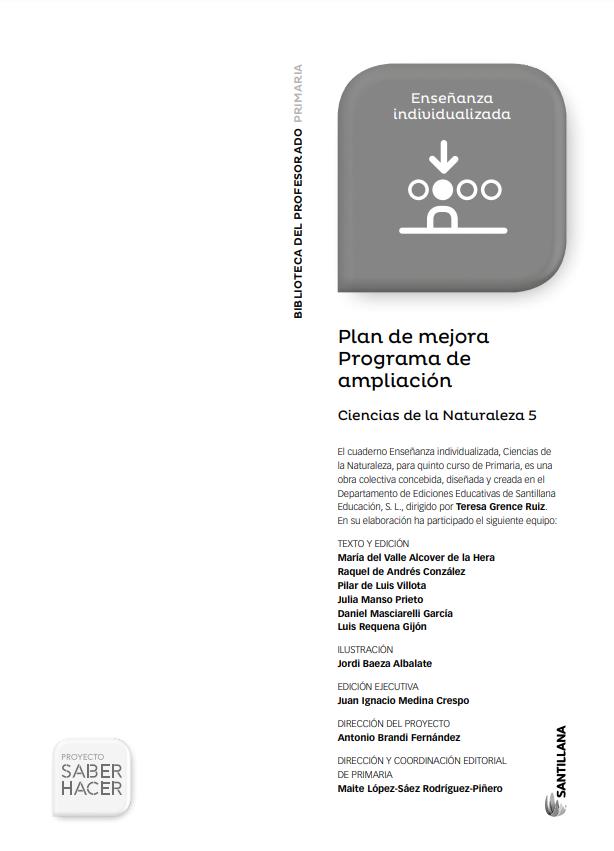 Plan de Mejora y Ampliacion Ciencias Naturales 5 Primaria Santillana PDF