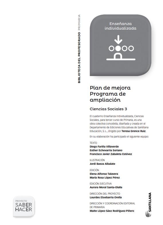 Plan de Mejora y Ampliacion Ciencias Sociales 3 Primaria Santillana PDF