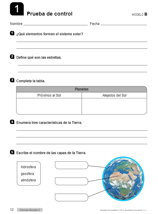 Prueba de Control Ciencias Sociales 3 Primaria Santillana PDF