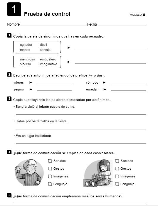 Prueba de Control Lengua 4 Primaria Santillana PDF