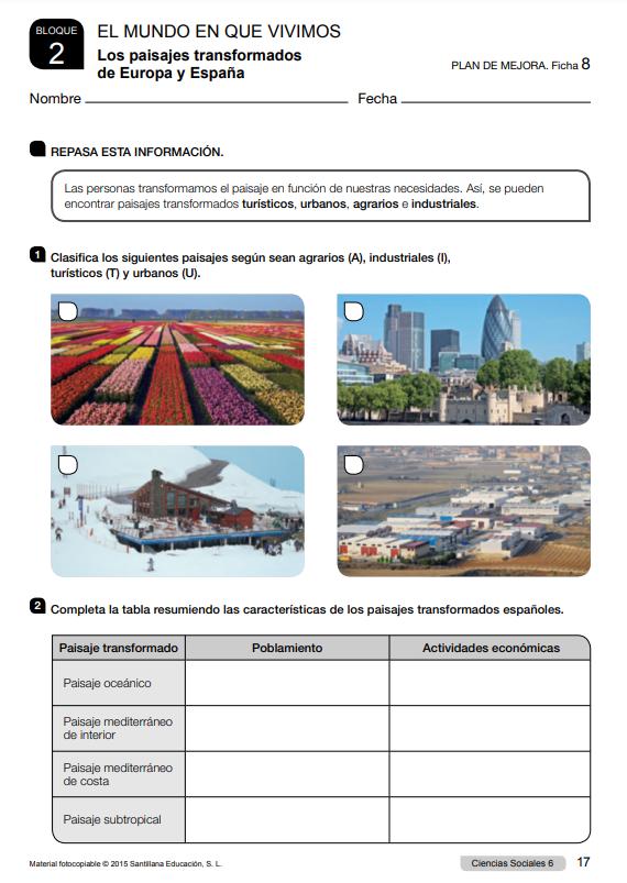 Refuerzo y Ampliacion Ciencias Sociales 6 Primaria Santillana PDF