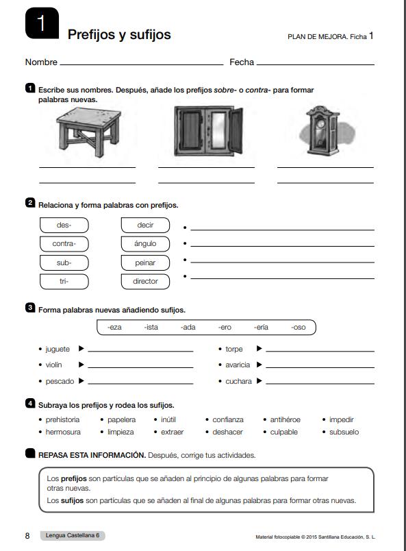 Refuerzo y Ampliacion Lengua 6 Primaria Santillana PDF
